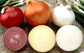 red, yellow, white onions
